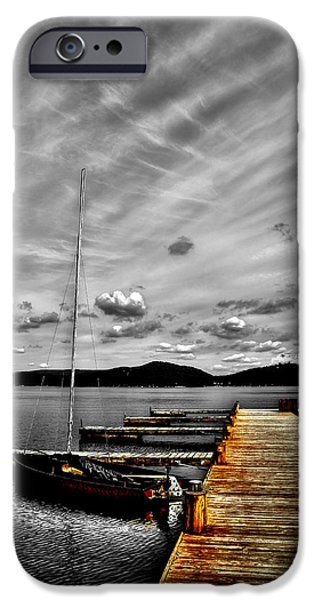 Boats At The Dock iPhone Cases - Sailboat at the Dock iPhone Case by David Patterson