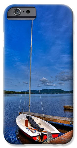 Sailboats iPhone Cases - Sailboat at The Woods Inn iPhone Case by David Patterson