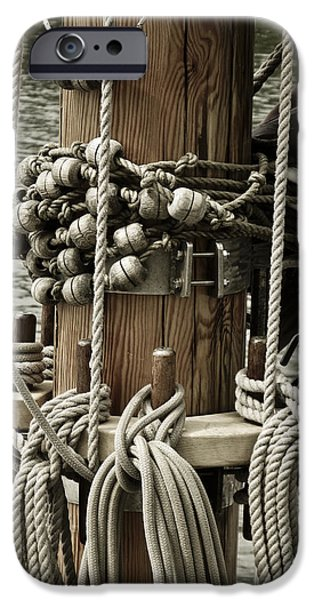 Sailboat Photos iPhone Cases - Sailboat Detail 3952 iPhone Case by Frank Tschakert
