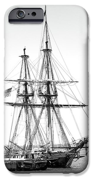 Sailboats iPhone Cases - Sailboat Docked in Cleveland Harbor iPhone Case by Robert Meyers-Lussier