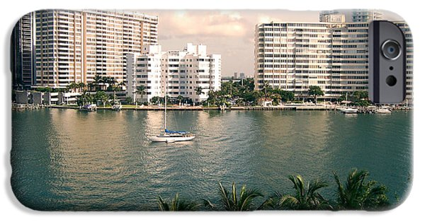 Sailboats iPhone Cases - Sailboat In Miami Beach Florida iPhone Case by Phil Perkins