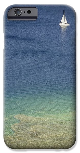 Sailboat Pyrography iPhone Cases - Sailboat in the Ocean iPhone Case by Matthew Goodman
