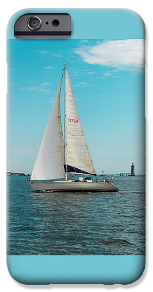 Ledge iPhone Cases - Sailboat iPhone Case by Laurie Breton