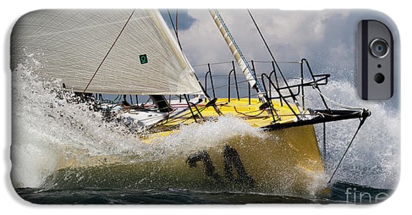 Sailboats iPhone Cases - Sailboat Le Pingouin Open 60 Charging  iPhone Case by Dustin K Ryan