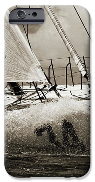 Sailboat Le Pingouin Open 60 Sepia iPhone Case by Dustin K Ryan