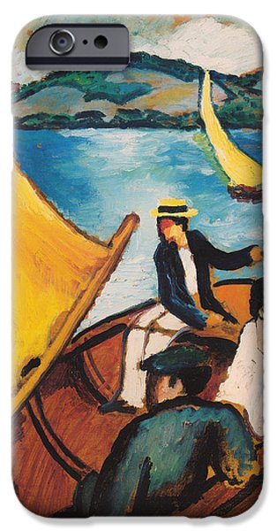 Sailing iPhone Cases - Sailboat On The Tegernsee iPhone Case by August Macke