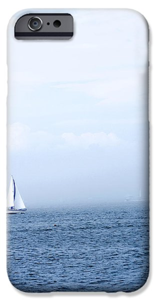 Sailboat Ocean iPhone Cases - Sailboat On Water With Misty Sky iPhone Case by Gillham Studios