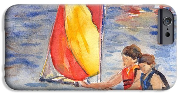 Sailboat Ocean iPhone Cases - Sailboat Painting In Watercolor iPhone Case by Maria