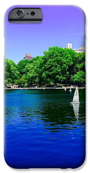 Sailboats iPhone Cases - Sailboat Pond Central Park NYC  iPhone Case by Joseph Cuccolino