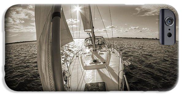 Sailboat Photographs iPhone Cases - Sailboat Sailing Charleston South Carolina iPhone Case by Dustin K Ryan