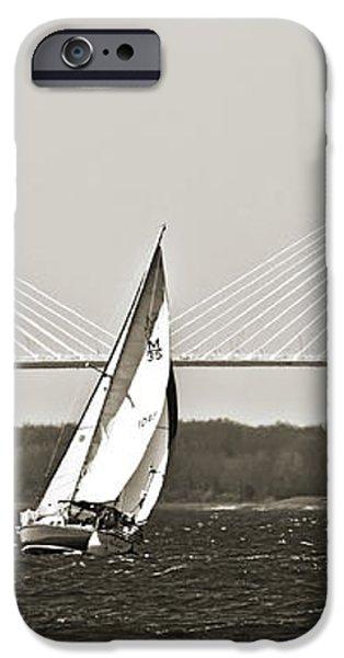 Sailboat Sailing Cooper River Bridge Charleston SC iPhone Case by Dustin K Ryan