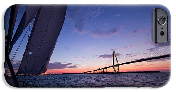 Sailing Yacht iPhone Cases - Sailboat Sailing Sunset on the Charleston Harbor  iPhone Case by Dustin K Ryan