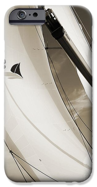 Sailing Yacht iPhone Cases - Sailboat Sails and Spinnaker Fate Beneteau 49 Charelston SC iPhone Case by Dustin K Ryan
