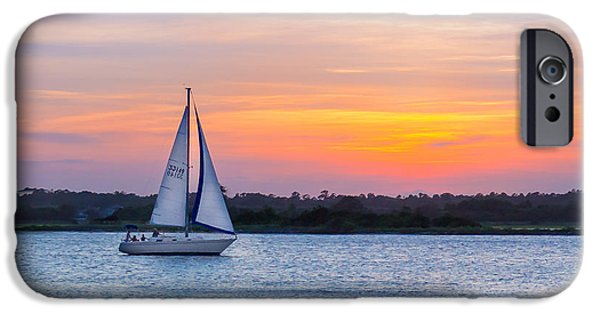 Sailboat Ocean iPhone Cases - Sailboat Sunset iPhone Case by Ryan Welborn