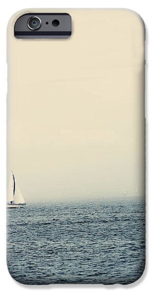 Sailboat Ocean iPhone Cases - Sailboat With Fog On Water iPhone Case by Gillham Studios