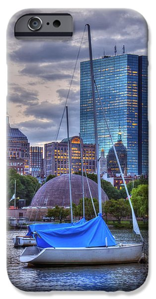 Charles River iPhone Cases - Sailboats and Sunset on the Charles River iPhone Case by Joann Vitali