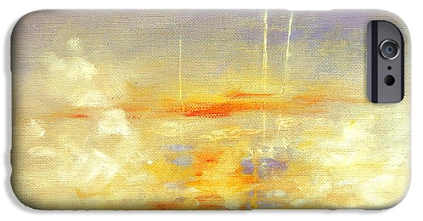 Sailboats In Harbor iPhone Cases - Sailboats At Dawn iPhone Case by Hanne Lore Koehler