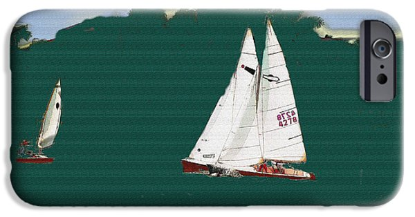 Sailboat Ocean iPhone Cases - Sailboats iPhone Case by Lenore Senior and Sharon Burger