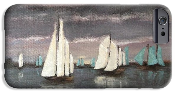 Sailboat Ocean iPhone Cases - Sailboats on a Stormy Day iPhone Case by Christina Glaser