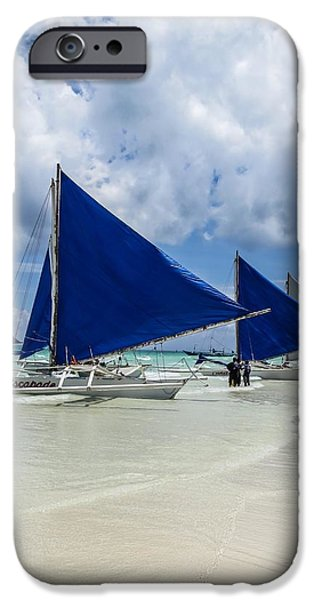 Sailboat Ocean iPhone Cases - Sailboats on Boracay Beach iPhone Case by Mark Sellers