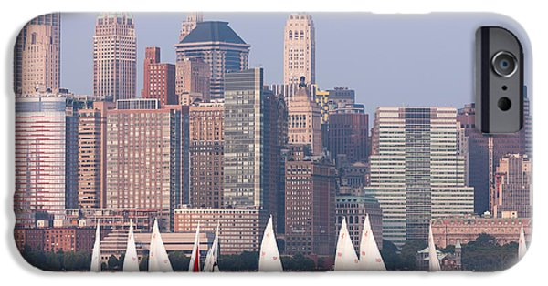Hudson River iPhone Cases - Sailboats on the Hudson II iPhone Case by Clarence Holmes