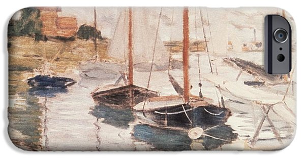 Seascape iPhone Cases - Sailboats on the Seine iPhone Case by Claude Monet