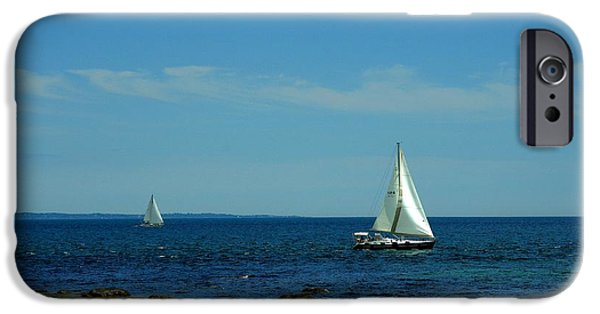Sailboat Ocean iPhone Cases - Sailboats iPhone Case by Valerie Cartier