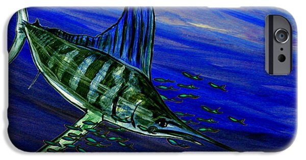 Sailfish Paintings iPhone Cases - Sailfish iPhone Case by W Gilroy