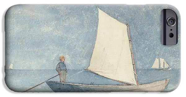 Boat Paintings iPhone Cases - Sailing a Dory iPhone Case by Winslow Homer