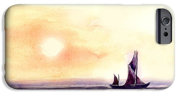 Boat Paintings iPhone Cases - Sailing iPhone Case by Anil Nene
