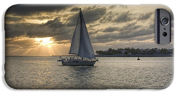 Sailboat Ocean iPhone Cases - Sailing at Sunset iPhone Case by Dale Wilson