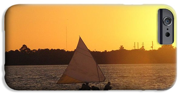 Sailboats iPhone Cases - Sailing at Sunset iPhone Case by Nancy  Hopkins