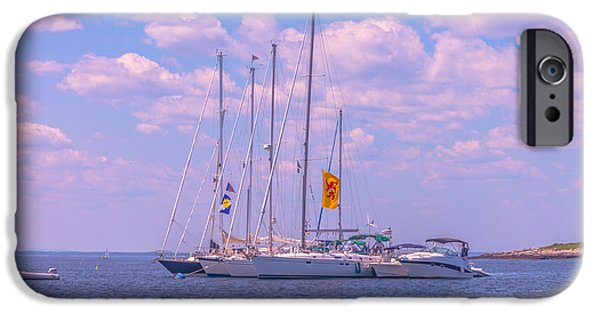 Sailboat Ocean iPhone Cases - Sailing boats at Isles of Shoals iPhone Case by Claudia Mottram