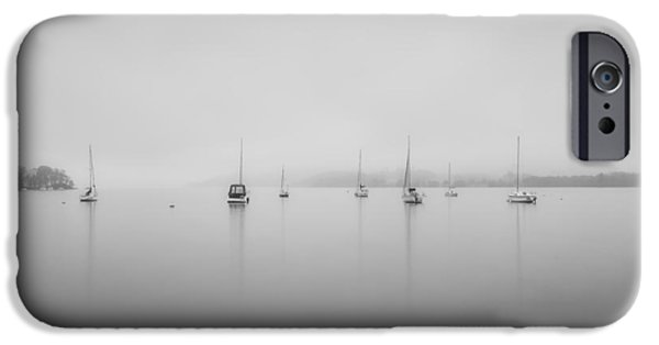 Boat iPhone Cases - Sailing boats foggy morning on Lake Windermere in Lake District  iPhone Case by Matthew Gibson
