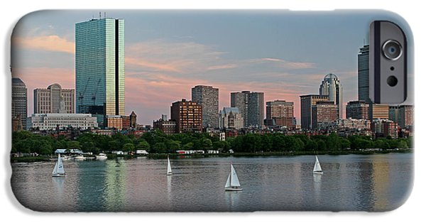 City. Boston iPhone Cases - Sailing Boston iPhone Case by Juergen Roth