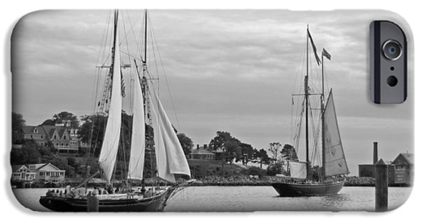 Tall Ship iPhone Cases - Sailing from Gloucester in black and white iPhone Case by Suzanne Gaff