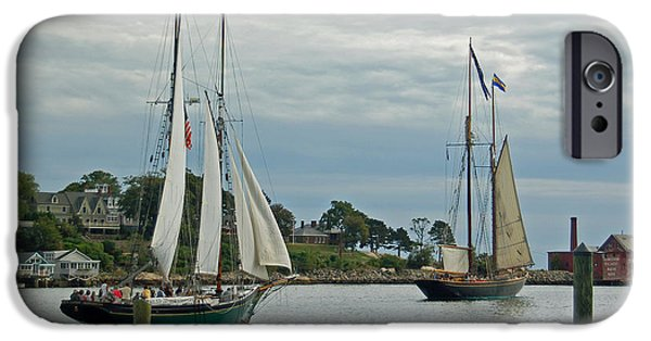 Tall Ship iPhone Cases - Sailing from Gloucester iPhone Case by Suzanne Gaff