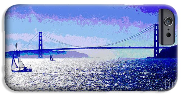 Sausalito iPhone Cases - Sailing Golden Gate Bridge iPhone Case by Jerome Stumphauzer