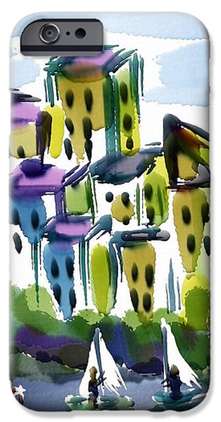 Sailboats iPhone Cases - Sailing In The City iPhone Case by Frank Bright
