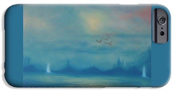 Flying Seagull iPhone Cases - Sailing In The Fog iPhone Case by Fiona Dinali