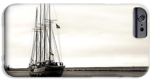 Monotone iPhone Cases - Sailing Lake Michigan iPhone Case by John Rizzuto