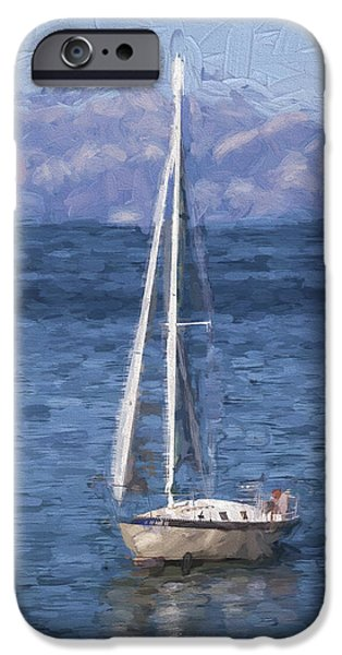 Sailing Digital iPhone Cases - Sailing Lake Tahoe iPhone Case by Carol Leigh