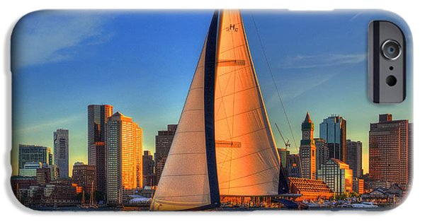 Sailboats In Harbor iPhone Cases - Sailing on Boston Harbor iPhone Case by Joann Vitali