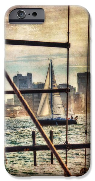 Boat iPhone Cases - Sailing on Boston Harbor - Vintage iPhone Case by Joann Vitali