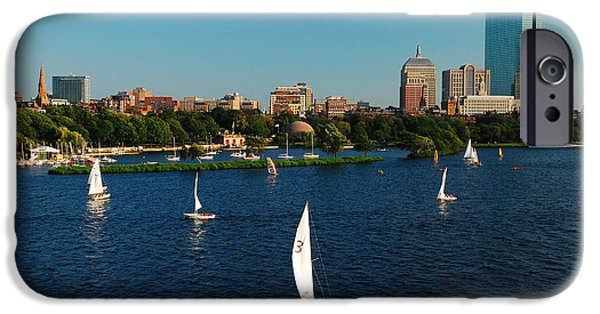 City. Boston iPhone Cases - Sailing on the Charles in Boston iPhone Case by James Kirkikis