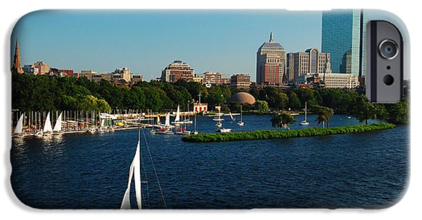 City. Boston iPhone Cases - Sailing on the Charles iPhone Case by James Kirkikis