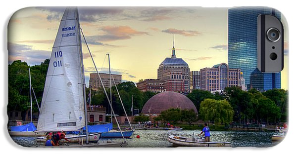 Charles River iPhone Cases - Sailing on the Charles River - Boston iPhone Case by Joann Vitali