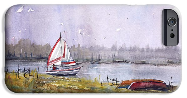 Impressionistic Landscape Paintings iPhone Cases - Sailing on White Sand Lake iPhone Case by Ryan Radke