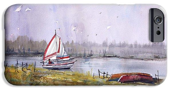 Red Canoe iPhone Cases - Sailing on White Sand Lake iPhone Case by Ryan Radke