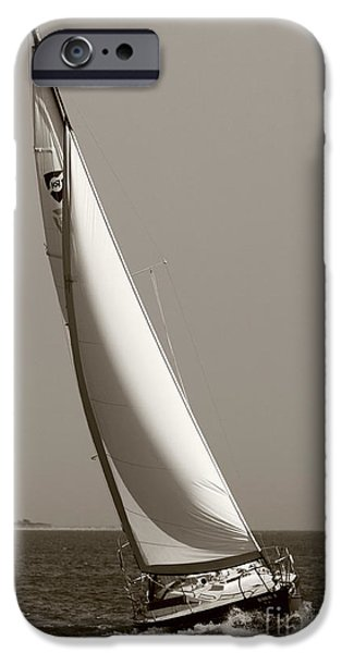 Sailboats iPhone Cases - Sailing Sailboat Sloop Beating to Windward iPhone Case by Dustin K Ryan